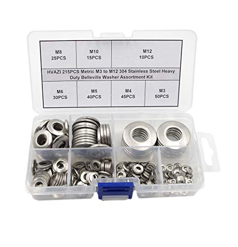 HVAZI 215PCS Metric M3 to M12 304 Stainless Steel Heavy Duty Belleville Washer/Conical Spring washers for Bolt/nut Assemblies Assortment Kit