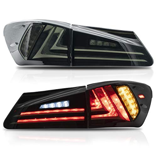 VLAND Tail lights Assembly Fit for 2006-2013 Lexus Sedan XE20 IS250 IS350, Taill Lamp with Sequential Turn Signal, Reverse Lights, LED DRL light, Plug-and-play,Smoked