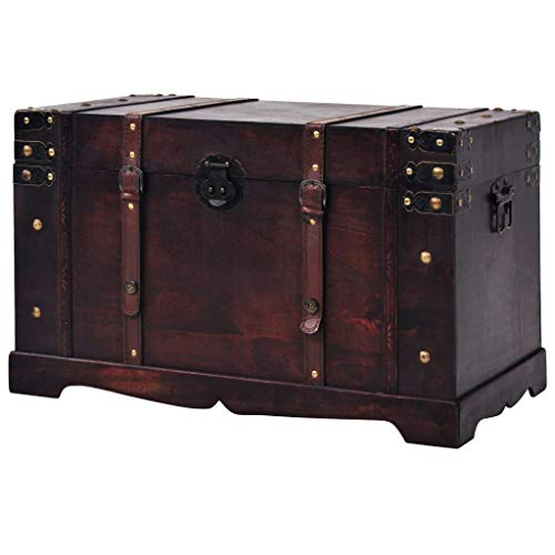 Canditree Storage Trunk Wood, Antique Treasure Chest Large, Storage Furniture for Bedroom Living Room Brown 26'x15'x15.7'