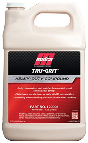 Malco Tru Grit - Heavy Duty Buffing and Polishing Compound for Cars/Automotive Paint Correction and Detailing/Removes 1000-1500 Grit Sand Scratches / 1 Gallon (120001)
