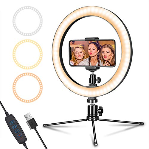 LED Ring Light 10' with Tripod Stand & Phone Holder for Live Streaming & YouTube Video, Dimmable Desk Makeup Ring Light for Photography, Shooting with 3 Light Modes & 10 Brightness Level