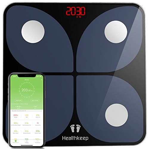 Weight Scale Digital for Body Fat, Bathroom Scales Bluetooth Smart Scale BMI Body Composition Monitor, Samsung, IOS, Andriod System, 396 lbs in 0.2 lb increments, 2 x AAA batteries included