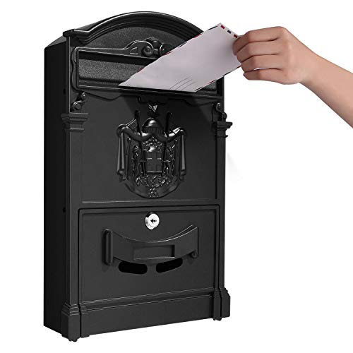 Tooluck Locking Mailboxes,Retro Style Letter Post Box Waterproof Wall Mounted Security Mailbox Home Decor (Black)