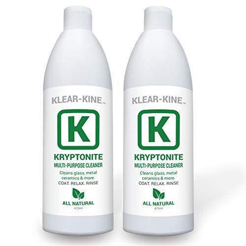 KLEAR Kryptonite Glass Cleaner   Clay Based Formula   470ml Bottles   Pipe Cleaner   2 Pack (32 oz)