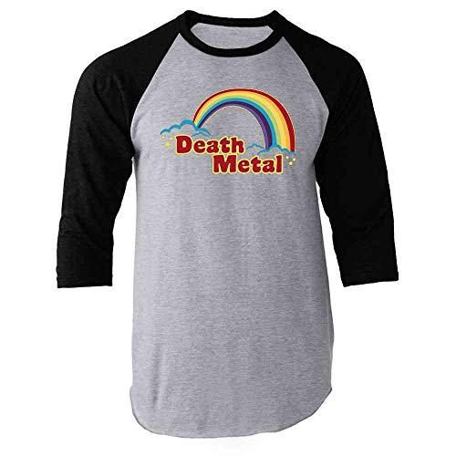 Death Metal Retro Rainbow 70s 80s Sarcastic Black L Raglan Baseball Tee Shirt