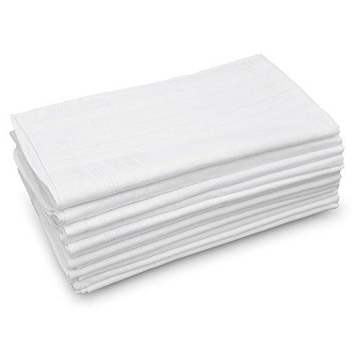 GB Men's Handkerchiefs 100% Cotton Solid White with Stripe Large Classic Hankies Bulk Set 12 Pack