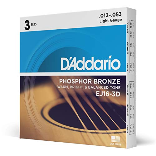 DAddario EJ16-3D Phosphor Bronze Acoustic Guitar Strings, Light Tension  Corrosion-Resistant Phosphor Bronze, Offers a Warm, Bright and Well-Balanced Acoustic Tone  Pack of 3 Sets