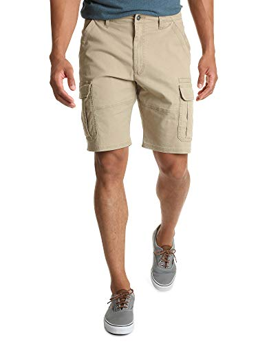 Wrangler Authentics Men's Classic Relaxed Fit Stretch Cargo Short, Grain Twill, 34