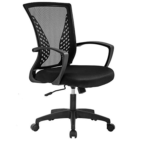 Vnewone Ergonomic Office Chair Desk Computer Mesh Executive Task Rolling Gaming Swivel Modern Adjustable with Mid Back Lumbar Support Armrest for Home Women Men, Black