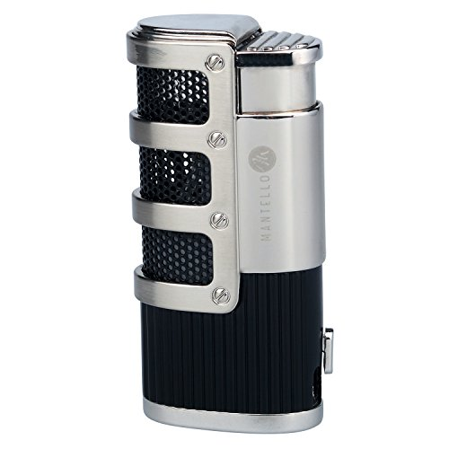 Mantello Catador Triple Jet Flame Butane Cigarette Torch Lighter with Cigar Punch Cutter