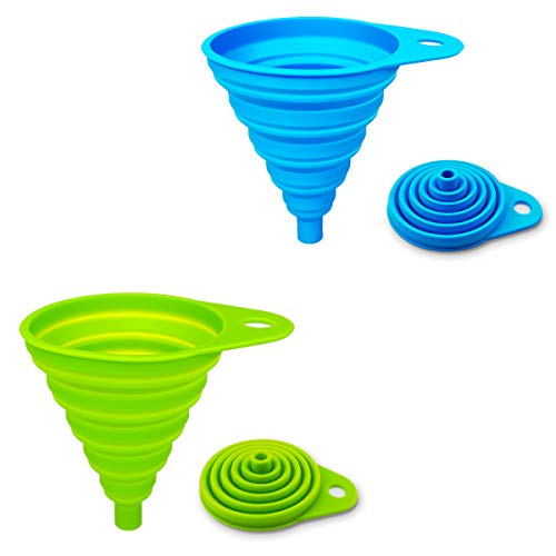 ddLUCK 2 Pack Silicone Collapsible Funnel, Flexible/Foldable/Kitchen Funnel for Water Bottle Liquid Transfer Narrow and Wide Mouth Funnels Hopper (Green and Blue)