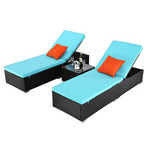 Do4U 3 Pieces Outdoor Patio Chaise Lounge Sets Adjustable Backrest Rattan Wicker Furniture Pool Porch Lounge Chair Set with Coffee Table (Turquoise)