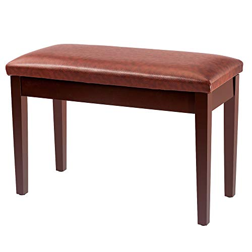 Bonnlo Brown Duet Piano Bench with Storage Compartment and Thick Cushion Hinged top Artist Duet Seat