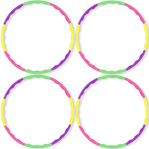 2Buyshop 4 Pack Hula Hoop for Kids, Size Adjustable & Detachable Length Hula Hoops Plastic Toys for Kids Adults Party Games, Bodybuilding, Dance, Gymnastics, Lose Weight