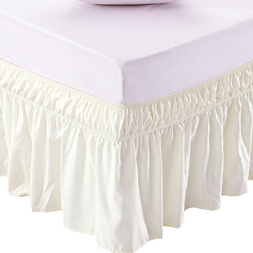 MEILA Three Fabric Sides Wrap Around Elastic Solid Bed Skirt, Easy On/Easy Off Dust Ruffled Bed Skirts 16 Inch Tailored Drop (Ivory Twin/Full)