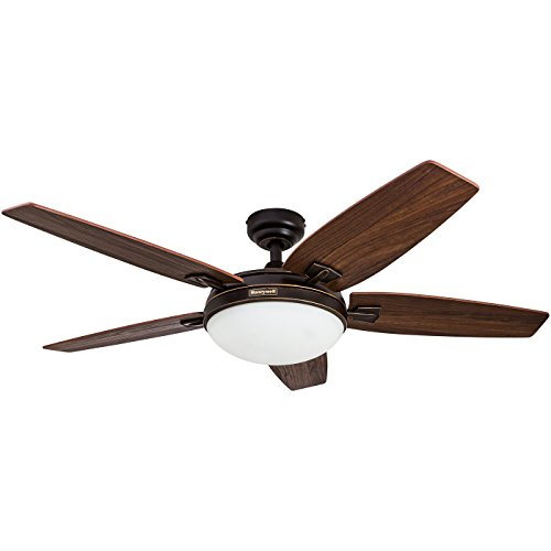 Honeywell Carmel 48-Inch Ceiling Fan with Integrated Light Kit and Remote Control, Five Reversible Cimarron/Ironwood Blades, Oil-Rubbed Bronze