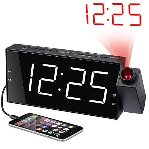 Projection Alarm Clock for Bedrooms, Digital Alarm Clock with Large 7 LED Display & Dimmer, 180 Projector, USB Charger, 12/24 H, DST, Snooze, Battery Backup, Desk Wall Ceiling Clock for Kid Elderly