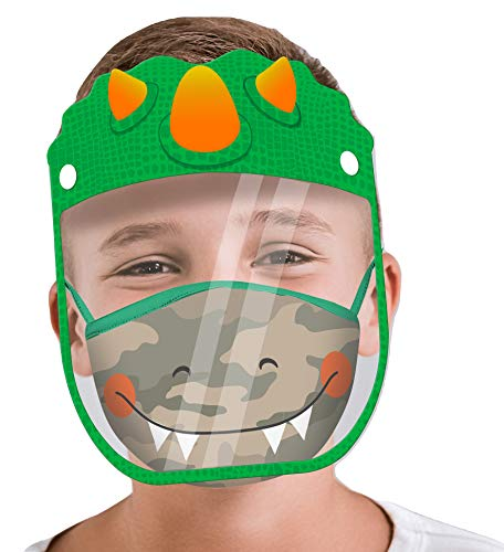 ABG Accessories Kids Face Shield with Matching Little Boys Reusable Fabric Mask, Dinosaur Design, Age 4-14
