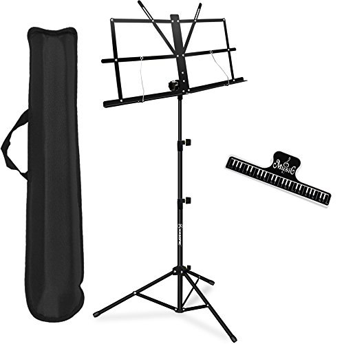 Music Stand, Kasonic Professional Collapsible Orchestra Portable and Light weight with Music Sheet Clip Holder & Carrying Bag Suitable for Instrumental Performance