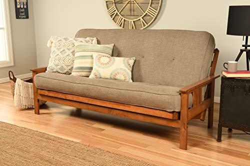 Kodiak Furniture Monterey Futon Set with Barbados Finish, Full, Linen Stone