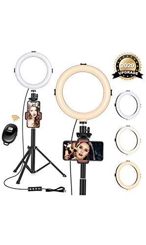 8' Ring Light with Tripod Stand - Dimmable Selfie Ring Light LED Camera Ringlight with Tripod and Phone Holder for Live Stream/Makeup/YouTube Video, Compatible for iPhone Android, Remote(Upgraded)