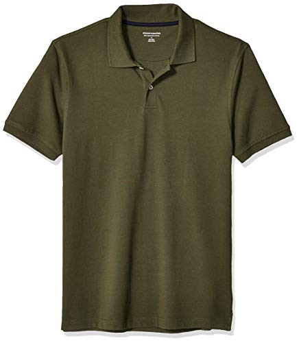 Amazon Essentials Men's Slim-Fit Cotton Pique Polo Shirt, -Olive, Large