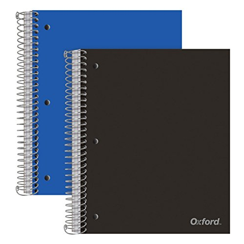 Oxford Spiral Notebooks, 3-Subject, College Ruled Paper, Durable Plastic Cover, 150 Sheets, 3 Divider Pockets, 2 Pack (10386)