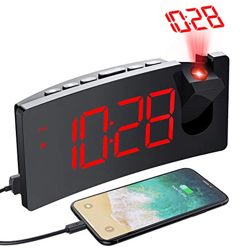 PICTEK Projection Alarm Clock, 4 Dimmer, Digital Clock with USB Phone Charger, Easy to Use, Clear Big Red Digit, 5'' LED Curved Screen, 180 Rotable, Digital Alarm Clocks for Bedrooms Ceiling, 12/24H