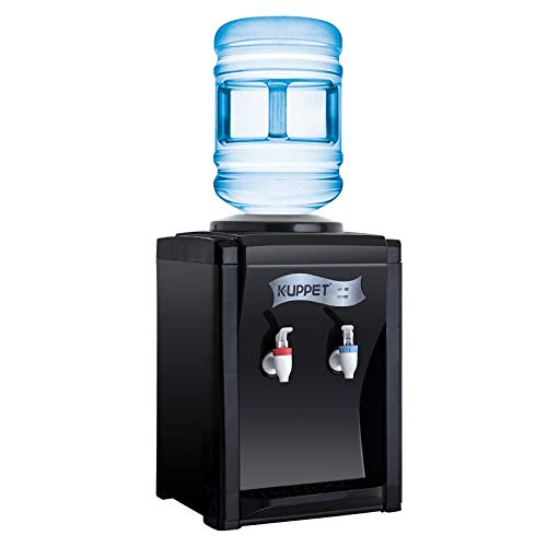 KUPPET Countertop Water Cooler Dispenser-3-5 Gallon Hot & Cold Water, ideal For Home Office Use, (17'', Black)