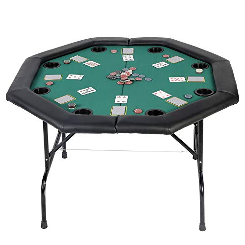 KARMAS PRODUCT Poker Table Folding Texas Holdem Casino Leisure Game Octagonal Table with Cup Holder 8 Player -Green