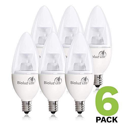 6 Pack 40 Watt Candelabra Bulbs 5W Dimmable Candelabra LED Bulbs C37 E12 Base 325 lumens,120° Beam Angle 3000K Soft White LED Candle Bulbs UL Listed Bioluz LED Pack of 6