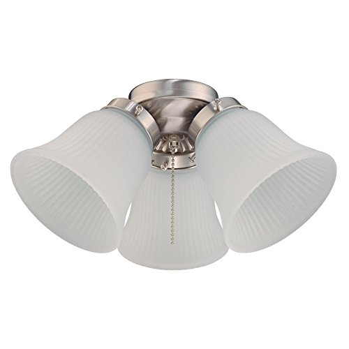Westinghouse Lighting 7784900 Three LED Cluster Ceiling Fan Light Kit, Brushed Nickel Finish with Frosted Ribbed Glass, White