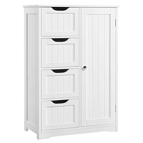 YAHEETECH Wooden Bathroom Floor Cabinet, Side Storage Organizer Cabinet with 4 Drawers and 1 Cupboard, Freestanding Entryway Storage Unit Console Table, Bathroom Furniture Home Decor, White