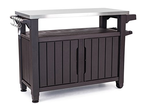 Keter Unity XL Portable Outdoor Table with Storage Cabinet and Stainless Steel Top, X-Large, Espresso Brown