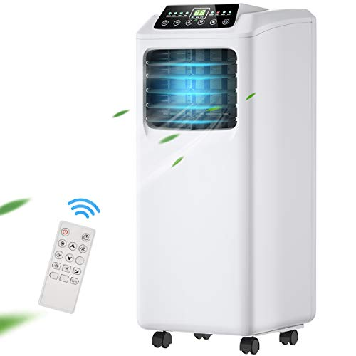 COSTWAY Portable Air Conditioner 8000 BTU with Remote Control, Energy Efficient for Rooms Up to 230 Sq. Ft, Cooling, Dehumidifying, Fanning, Sleeping Mode, Time Settings, Water Full Indication