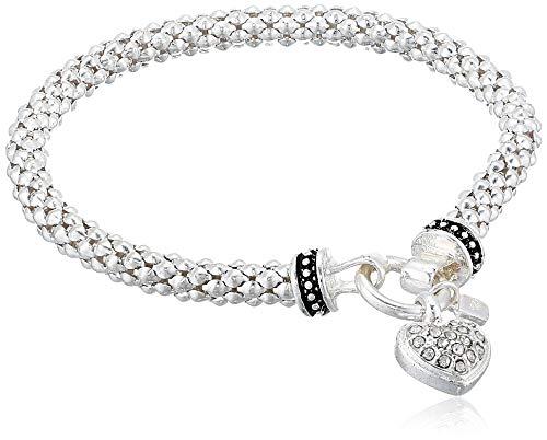 NINE WEST Women's Boxed Bracelet Pave Heart Stretch, Silver/Crystal, Silver