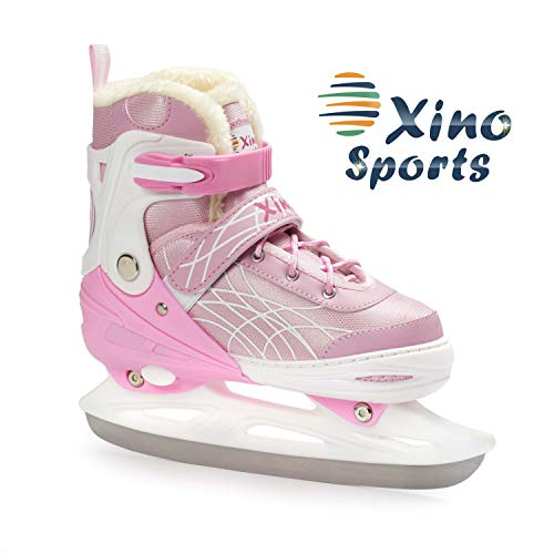 Deluxe Adjustable Ice Skates - for Boys and Girls, Two Awesome Colors - Blue and Pink, Faux Fur Padding and Reinforced Ankle Support, Fun to Skate! Pink Size Medium