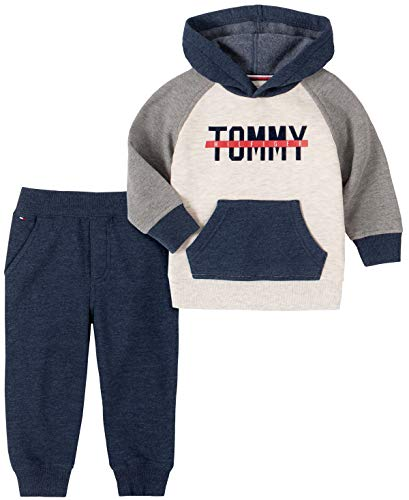 Tommy Hilfiger Baby Boys' 2 Pieces Hooded Pants Set, Gray/Oatmeal, 3-6 Months