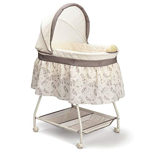 Delta Children Deluxe Sweet Beginnings Bedside Bassinet - Portable Crib with Lights and Sounds, Falling Leaves