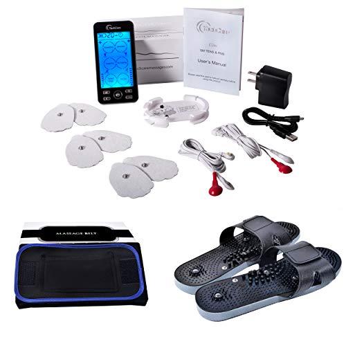 [Lifetime Warranty] TechCare Plus 24 Modes Tens Unit Massager Rechargeable Unit Electric Complete Set + Fat Burner Belt + Reflexology Shoes Back Neck Pain