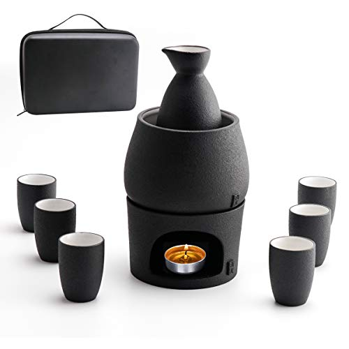 Lyty Sake Set and Cups with Warmer Keep Sake Storage Gift Box, Traditional Porcelain Japanese Pottery Hot Saki Drink, 9-Piece Include 1 Stove 1 Warming Bowl 1 Sake Bottle 6 Cup (Candle NOT Included)