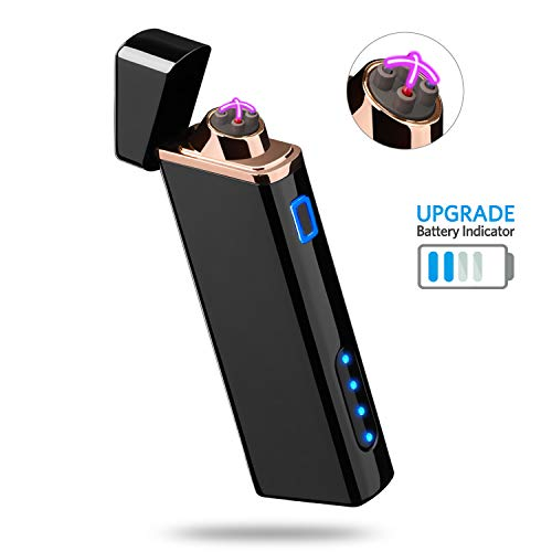 Lighter, Electric Arc Lighter USB Rechargeable Lighter Windproof Flameless Lighter Plasma Lighter with Battery Indicator (Upgraded) for Fire, Cigarette, Candle - Outdoors Indoors (S1700)