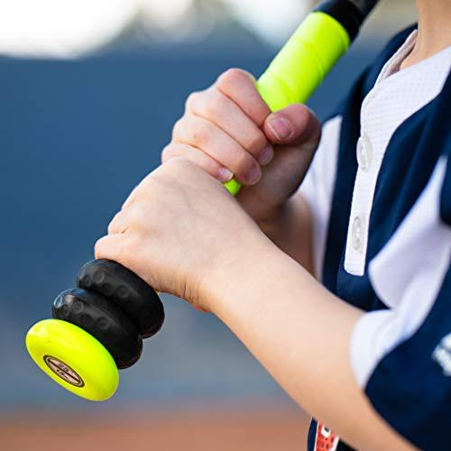 Bat Grip Choke up Rings 2-Pack for Youth Baseball, Softball and Tee Ball (Black)