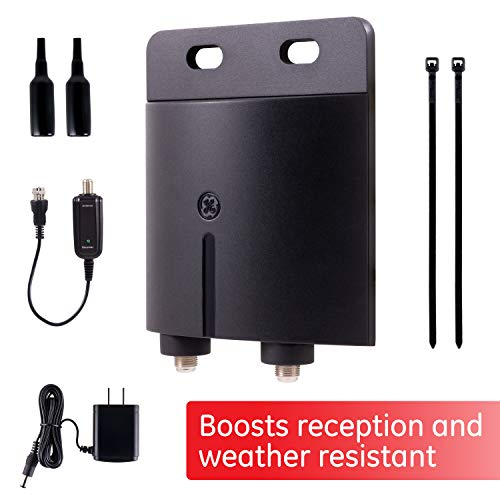 GE Outdoor TV Antenna Amplifier Low Noise Antenna Signal Booster Clears Up Pixelated Low-Strength Channels HD TV Digital VHF UHF Mounting Hardware Included Coax Connections Black 42179