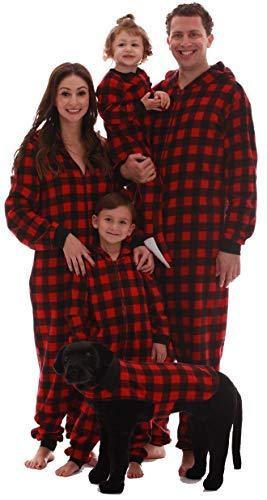 #followme Family Pajamas Buffalo Plaid Microfleece Mens Adult Onesie 6754-10195-XL