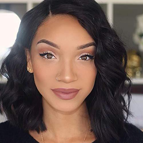 Short Bob Lace Front Wigs Human Hair 130% Density Pre Plucked Brazilian Virgin Human Hair Natural Wave Bob Style Wigs For Black Women (10')