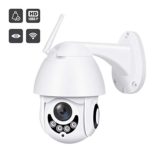 2019 Upgraded Full HD 1080P Security Surveillance Cameras Outdoor Waterproof Wireless PTZ Camera with Night Vision - IP WiFi Cam Surveillance Cam Audio Motion Activated (White)