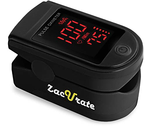 Zacurate Pro Series 500DL Fingertip Pulse Oximeter Blood Oxygen Saturation Monitor with Silicon Cover, Batteries & Lanyard (Royal Black)