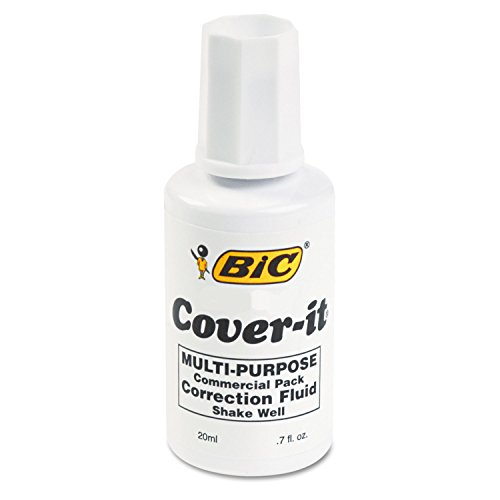 BIC Cover-It Correction Fluid, 20 Milliliter Bottle, White, 1/Each (WOC12-WE)