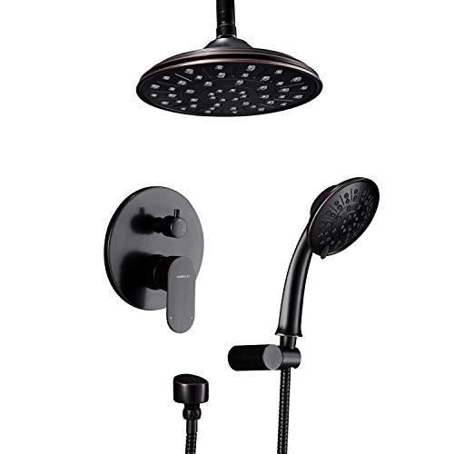 Shower System, Ceiling Shower Faucet Set for Bathroom with High Pressure 8' Rain Shower head and 3-Setting Handheld Shower Head Set, Pressure Balance Valve with Trim and Diverter, Oil Rubbed Bronze